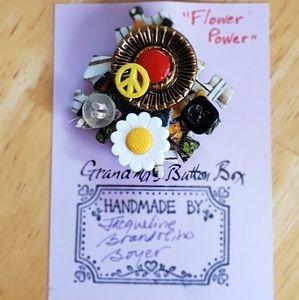 """Flower Power"" handmade pin"